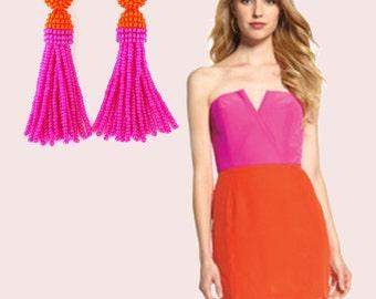 Orange and PINK beaded tassel Earrings. Bridesmaid tassel earrings Oscar de la Renta style. Clip-on earrings, sterling SILVER stud earrings.