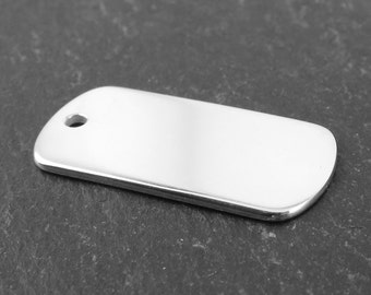 Personalised Sterling Silver Engraved Tag 25mm