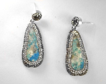 Turquoise and Swarovski Crystal Earring