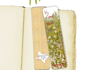 Wildflowers Photo Bookmark, It's a Small Small World, Spring Blooms, Creosote, Desert Texas Handmade, 7.25 x 2 wide
