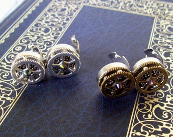 Gear Cuff Links (CL501) - Steampunk Style - Button Covers Snap-On - Swarovski Crystal - Layered Gears