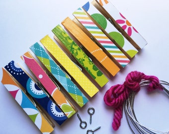 Kids Art Display. Clothesline Kit. Frame Picture. Photo Clothesline. Hanging Clips. Pins. Pegs. Chip Clip. BRIGHT. 10 Clothespins. Summer