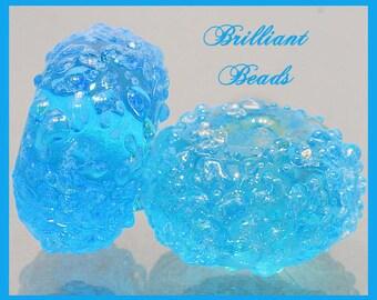 Aqua Sugared Glass Bead Pair - Handmade Lampwork Beads SRA, Made To Order