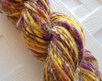 CROCUSES IN SNOW Thick and Thin Handspun, Worsted-Weight Yarn, Soft Handspun Yarn, Handspun Merino, Handspun Silk Yarn, Free Hat Pattern