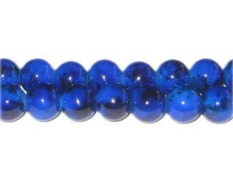 10mm Blue Lapis-Style Glass Bead, approx. 21 beads