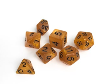 Gold Glitter Dice set - Dungeons and Dragons dice set - Polyhedral dice set - Pathfinder Dice Set
