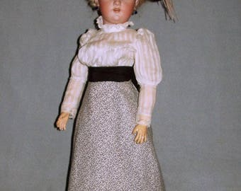 "20"" S&H 1159 Antique Lady Doll, Original Corset and Unders"