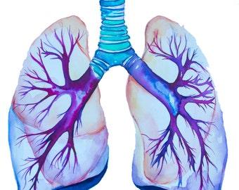Pintura acuarela--imprimir acuarela, pulmón pulmón imprimir, arte médico, arte ciencia, Ilustración de la anatomía, anatomía moderna