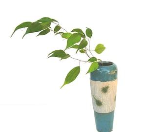 Vintage Flower Vase Mid century Modern Art Pottery Teal Blue Home Decor