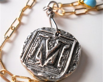 MIXED METAL Wax Seal Jewelry Necklace, Stamped Initial, Sterling Silver Initial Aqua Charms, 14k Gold Filled Chain , JEWELLERY,