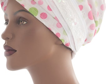 Lined Eyelet Cotton Polka Dot Wrap Scarf Wrap Sinar Tichel Headcovering Chemo Scarf Hair Covering Christian Headcovering Handmade