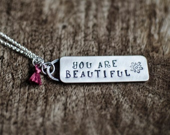 You Are Beautiful Necklace   Sterling Silver Necklace   Handmade Jewelry   Gifts For Her   Rustic Jewelry   Stamped Necklace