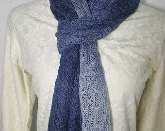 Handmade Alpaca Scarf, Suri Alpaca Scarf, Knit Lace Scarf, Homegrown Suri Alpaca, 100% Alpaca Scarf, Hand Dyed Steel Blue Ombre