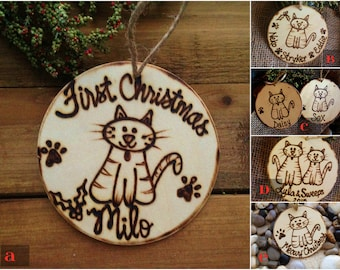 HOLIDAY PET Cat Ornament Personalized with Name Engraved and Year Your Choice One or Multiple Cats