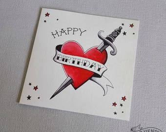 Traditional Tattoo Heart Birthday Card Rockabilly Heart Old School Tattoo Flash