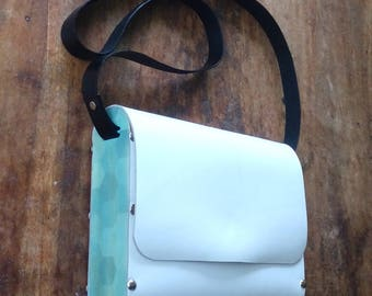 """Objectify Leather and Plywood Shoulder Bag with """"Ocean Bubble"""" Print"""