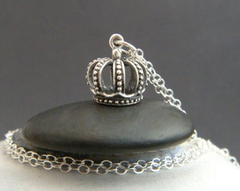 silver crown necklace. sterling silver. small princess king queen crown charm tiny whimsical pendant boho jewelry ornate unique gift for her
