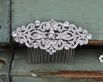 Crystal Wedding Hair Comb, Rhinestone Bridal Comb, Silver Wedding Hair Comb, Swarovski Crystal Headpiece, Vintage Bridal Side Comb, CO-005