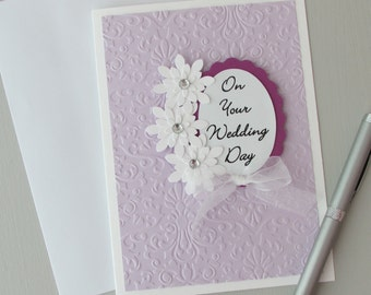 Wedding card-Greeting cards with sentiment-5 X 7 cards,modern wedding cards,lavender wedding cards,embossed cards,handmade/homemade cards