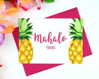 Mahalo, Thank You, Thank You Card, Mahalo Card, Pineapple, Pineapple Card, Thanks Card, Hawaiian Card, Hawaii, Thanks, Pineapples, Hawaiian