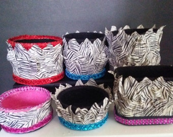 ZEBRA Decorated Re-cycled Household Cans Holds or Displays Anything Right Side Up or Upside Down!