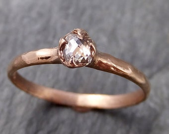 Fancy cut Dainty White Diamond Solitaire Engagement 14k Rose Gold Wedding Ring byAngeline 1098