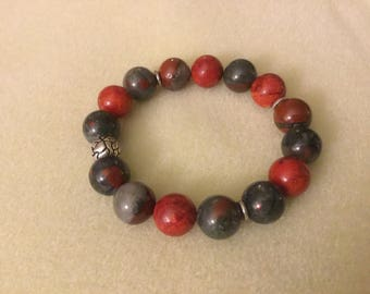 Spiny Oyster Shell and Blood Stone strength bracelet