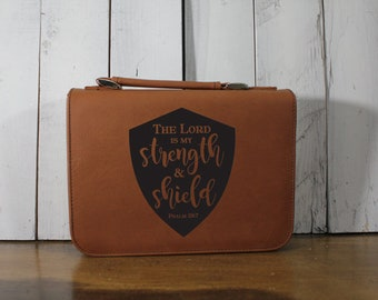 Bible Cover - The Lord is my Strength and Shield/Psalm 28:7/Bible Verse/Mother's Day Gift/Leatherette/Zipper/Fast Shipping