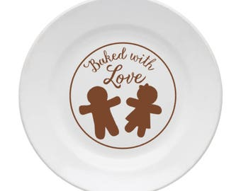Baked with Love Decal, Cookie Plate Decal, Christmas Decal, Kitchen Decal, Holiday Decor, Baking, Kitchen Stickers, Holiday Sticker, Cookies
