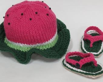 Baby Toddler Watermelon Cotton Summer Hat Photo Prop Shower Gift Sandals