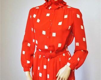 1980's Dress Diana Style Two Piece Skirt and Blouse Shirtwaist Ruffle Collar Long Sleeve Size 8 Petite