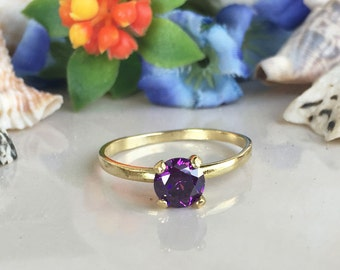 20% off-SALE!! Amethyst Ring - Purple Ring - Gold Ring - February Birthstone Jewelry - Gemstone Ring - Tiny Ring - Simple Ring - Stack Ring