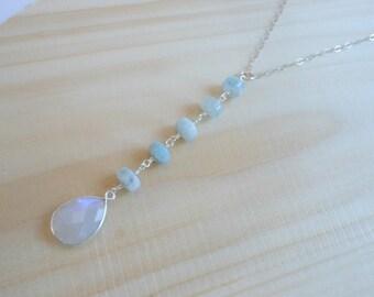 Aquamarine Lariat, Center Drop Y Necklace, Moonstone Lariat, Sterling Silver, Long Necklace Lariat Long Pendant Necklace Long Stone Necklace
