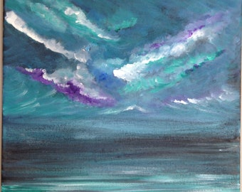 Original Seascape Painting On Stretched Canvas In Acrylic: 'Before The Storm'.