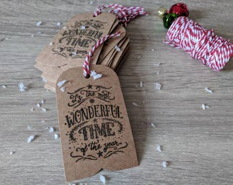 10x handmade Christmas gift tag, It's the most wonderful time of the year tag, Rustic Christmas tag