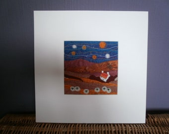 Starry Starry Night/Orange.  Original Textile Art.