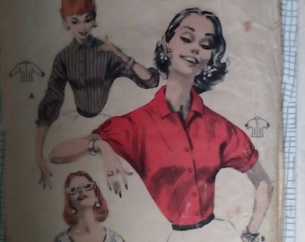 """1950s Blouse - 34"""" Bust - Butterick 7827 - Vintage Sewing Pattern"""