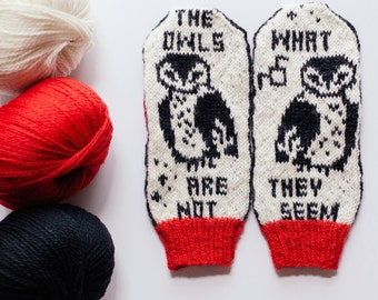 Pattern: The Owls Are Not What They Seem Knit Mittens