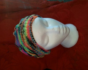 Adult handknit Very fun funky hat with many colors