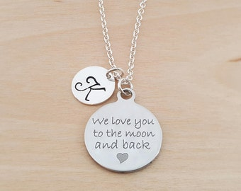 We Love You to The Moon and Back Necklace - Personalized Necklace - Custom Initial - Silver Necklace - Handmade Jewelry / Gift for Her