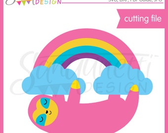 Sloth SVG, rainbow svg, SVG, DXF, Cutting Files, svg Files for Cutting Machines