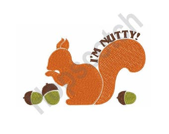 Squirrel And Acorns - Machine Embroidery Design, I'm Nutty!