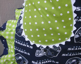 Aprons Seattle Seahawks Womens Aprons Blue Aprons Green Aprons Handmade Seahawks Aprons Tailgate Party Aprons Football Aprons Seahawk Fabric