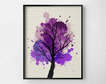 Tree Wall Art, Modern Home Decor, Fine Art Print, Modern Art Print, Nature Art Print, Tree Artwork, Office Decor, Purple Art, 0304