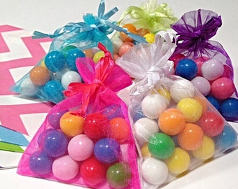 50 colorful Organza Bags. 3x4 Sheer Wedding Favor, Birthday Party Baby Shower gift tea bag sachel