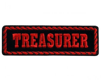 """Red Officer Treasurer, High Thread Embroidered Iron-on / Saw-on Rayon PATCH - 4"""" X 1"""""""