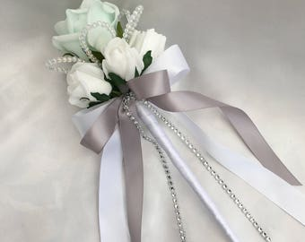 Artificial Wedding Flowers, Flower girls, Bridesmaids, Wand, Mint Green and White Roses with crystals
