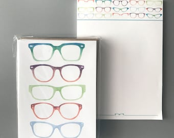 Eye Love Glasses Notepad and Note Card Set