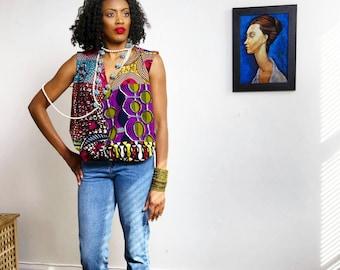 Keli Drape Top African Print Top African pink mix