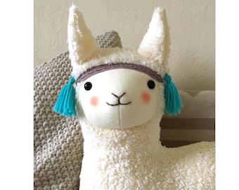 Alpaca, Lama in white, kawaii, cute, Baby toys handmade, PetitiPanda, baby gift, Children's  room, Lamalove, Bestfriend, Peru, Desert